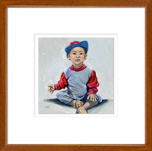 Myanmar Sitting Boy Framed - Original