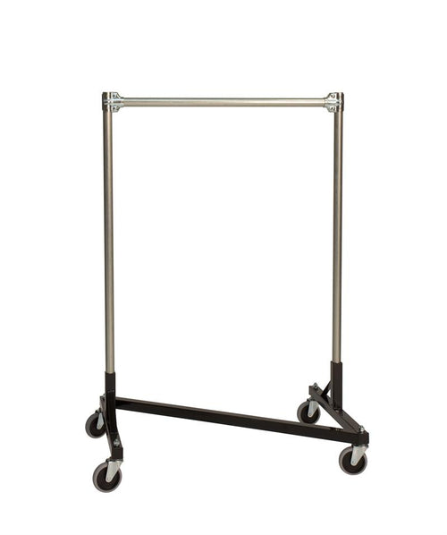 Quality Fabricators¨ Heavy Duty Garment Z-Rack : Single Rail - 3' Base x 4' Uprights