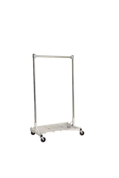 Quality Fabricators¨ Heavy Duty Garment Z-Rack : Bottom Shelf- 3' Base x 5' Uprights