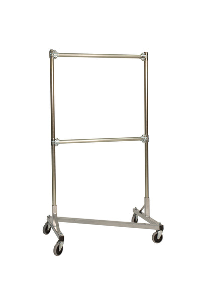 Quality Fabricators¨ Heavy Duty Garment Z-Rack : Double Rail - 3' Base x 5' Uprights