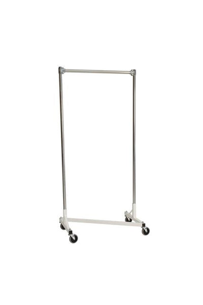 Quality Fabricators¨ Heavy Duty Garment Z-Rack : Single Rail - 3' Base x 6' Uprights