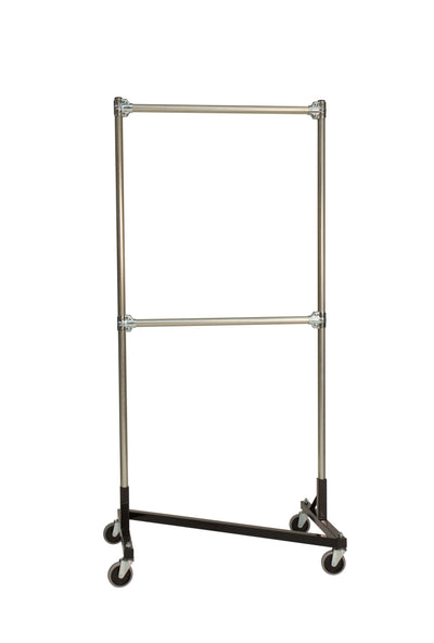 Quality Fabricators¨ Heavy Duty Garment Z-Rack : Double Rail - 3' Base x 6' Uprights