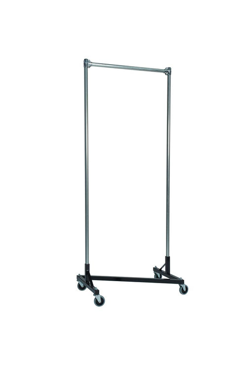 Quality Fabricators¨ Heavy Duty Garment Z-Rack : Single Rail - 3' Base x 7' Uprights