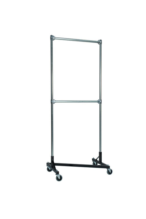 Quality Fabricators¨ Heavy Duty Garment Z-Rack : Double Rail - 3' Base x 7' Uprights
