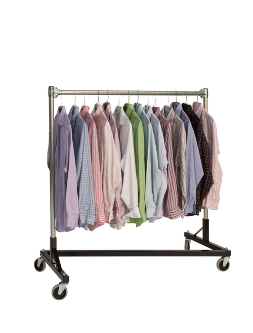 Quality Fabricators¨ Heavy Duty Garment Z-Rack : Single Rail - 4' Base x 4' Uprights