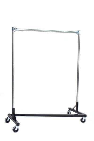 Quality Fabricators¨ Heavy Duty Garment Z-Rack : Single Rail - 4' Base x 5' Uprights