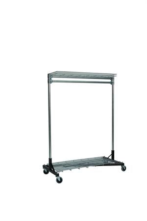 Quality Fabricators¨ Heavy Duty Garment Z-Rack : Top & Bottom Shelf- 4' Base x 5' Uprights