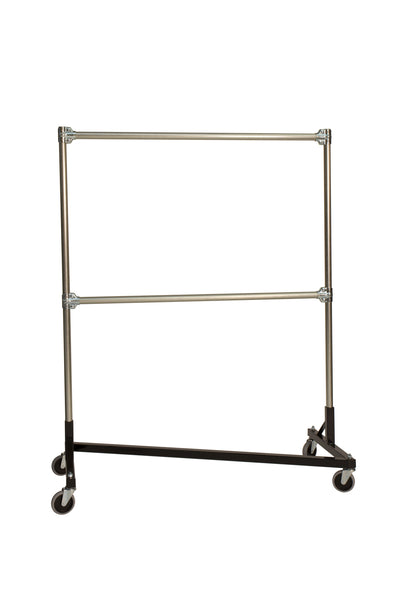 Quality Fabricators® Heavy Duty Garment Z-Rack : Double Rail - 4' Base x 5' Uprights