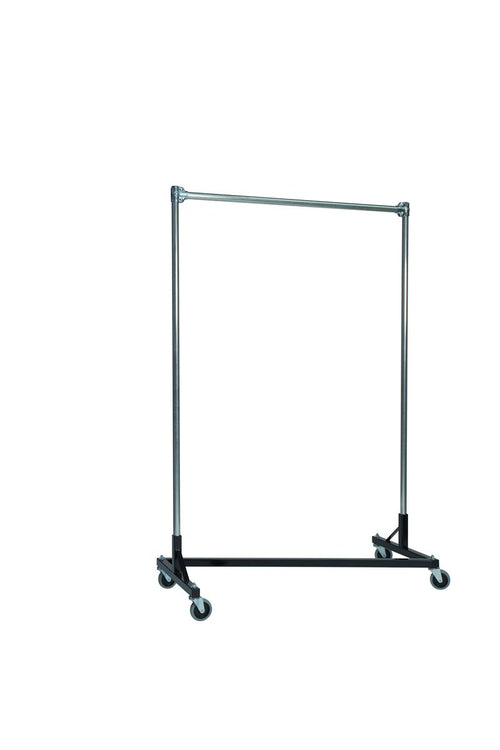 Quality Fabricators¨ Heavy Duty Garment Z-Rack : Single Rail - 4' Base x 6' Uprights