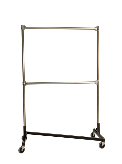 Quality Fabricators¨ Heavy Duty Garment Z-Rack : Double Rail - 4' Base x 6' Uprights