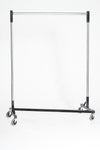 Quality Fabricators¨ Heavy Duty Garment Z-Rack : Single Quick Rail - 4' Base x 6' Uprights