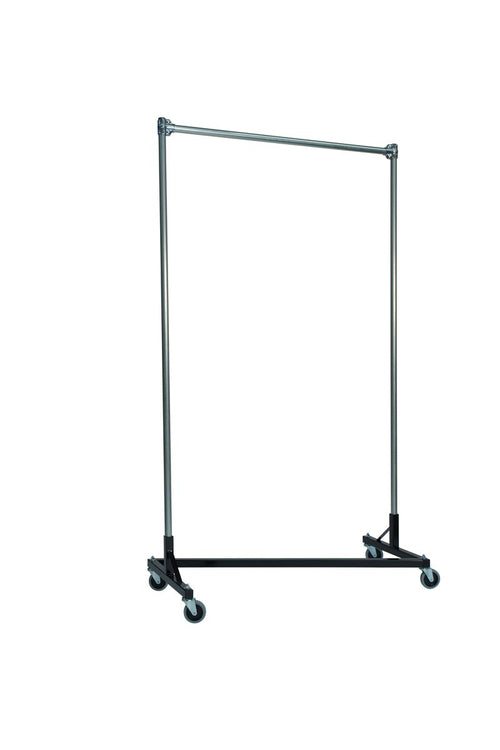 Quality Fabricators¨ Heavy Duty Garment Z-Rack : Single Rail - 4' Base x 7' Uprights