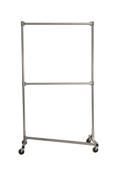 Quality Fabricators¨ Heavy Duty Garment Z-Rack : Double Rail - 4' Base x 7' Uprights