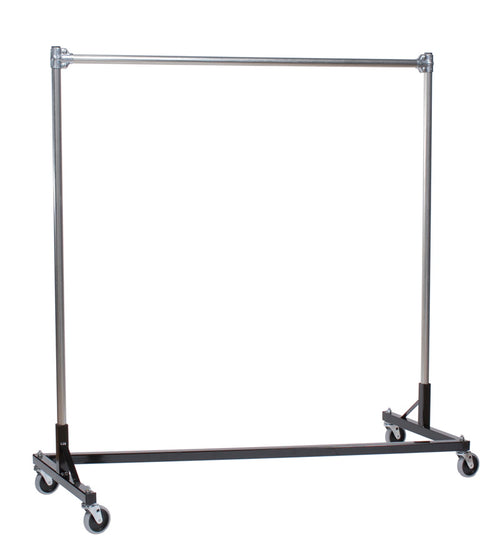 Quality Fabricators Heavy Duty Garment Z-Rack : Single Rail - 5' Base x 5' Uprights