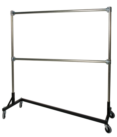Quality Fabricators¨ Heavy Duty Garment Z-Rack : Double Rail - 5' Base x 5' Uprights
