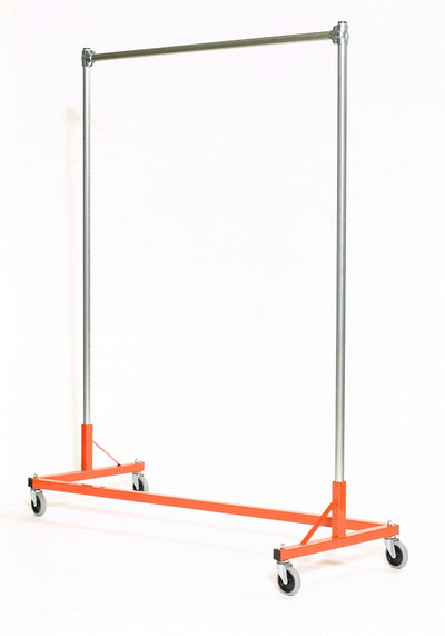 Quality Fabricators¨ Heavy Duty Garment Z-Rack : Single Rail - 5' Base x 6' Uprights