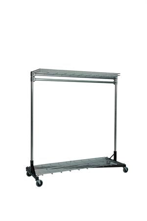 Quality Fabricators¨ Heavy Duty Garment Z-Rack : Top & Bottom Shelf- 5' Base x 6' Uprights