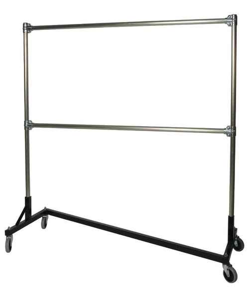 Quality Fabricators¨ Heavy Duty Garment Z-Rack : Double Rail - 5' Base x 6' Uprights