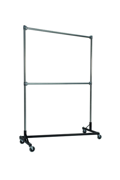 Quality Fabricators¨ Heavy Duty Garment Z-Rack : Double Rail - 5' Base x 7' Uprights