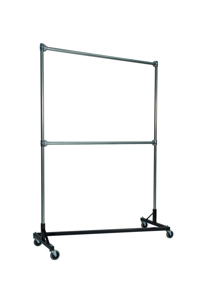 Quality fabricators¨ heavy duty garment z rack double rail 5 base