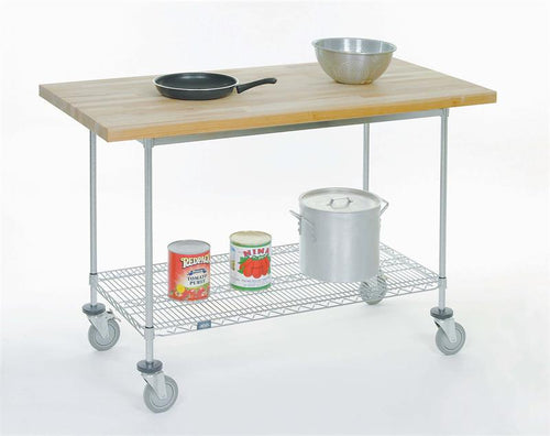 Mobile Work Bench with Shelf and Maple Top| Size| 30W x 60L x 40H