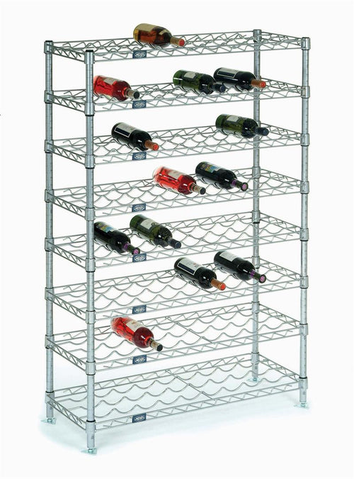 Wine Rack with 8 Shelves, 36 Inches Wide without Ledges