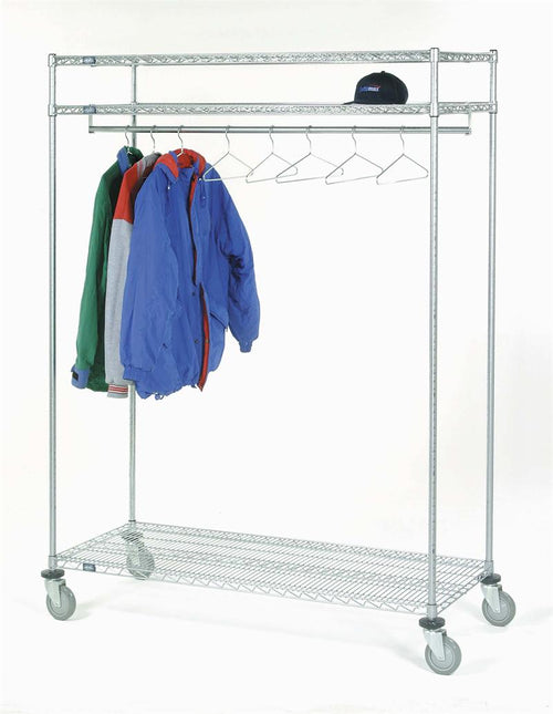 Quality Fabricators¨ Garment Rack with 3 Shelves| Shelf Width| 3 Shelves, 24 hangers (24W x 60L x 80H)