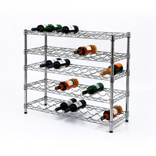 Wine Rack with 5 Shelves 36 Inches Wide| Ledges| With Out Ledges