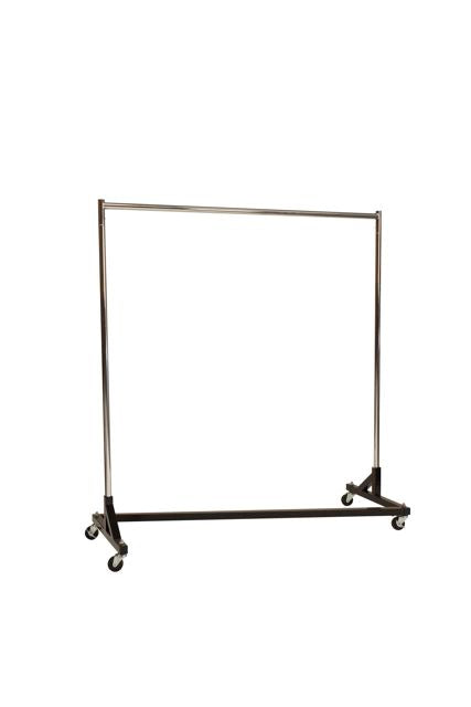 "Regular Duty Garment Z-Rack : Single Rail - 5' Base x 63"" Uprights Black"