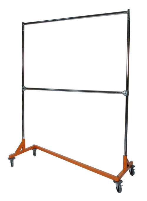 "Medium Duty Garment Z-Rack : Double Rail -  5' Base x 73"" Uprights"