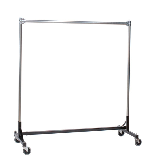 Quality Fabricators¨ Heavy Duty Garment H-Rack : Single Rail - 5' Base x 5' Uprights