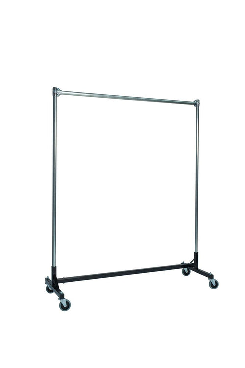 Quality Fabricators¨ Heavy Duty Garment H-Rack : Single Rail - 5' Base x 6' Uprights