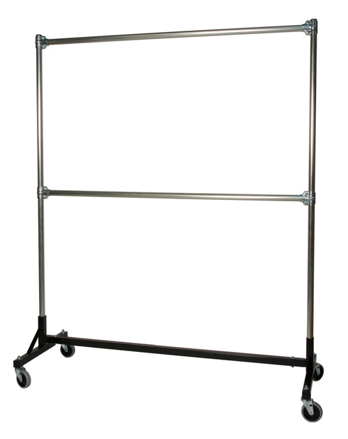 Quality Fabricators¨ Heavy Duty Garment H-Rack : Double Rail - 5' Base x 6' Uprights