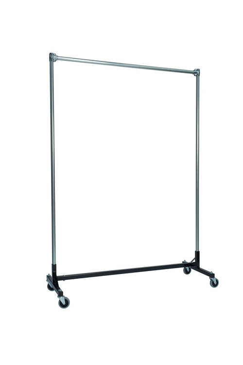 Quality Fabricators¨ Heavy Duty Garment H-Rack : Single Rail - 5' Base x 7' Uprights