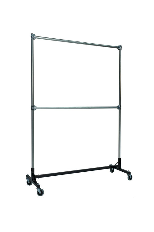 Quality Fabricators¨ Heavy Duty Garment H-Rack : Double Rail - 5' Base x 7' Uprights