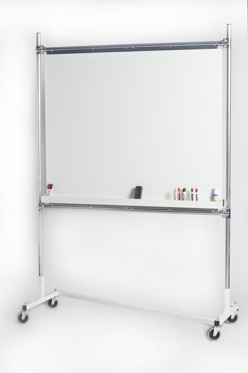 Quality Fabricators¨ Whiteboard rack 5 ft base with 6 ft uprights, two whiteboard rails and whiteboard