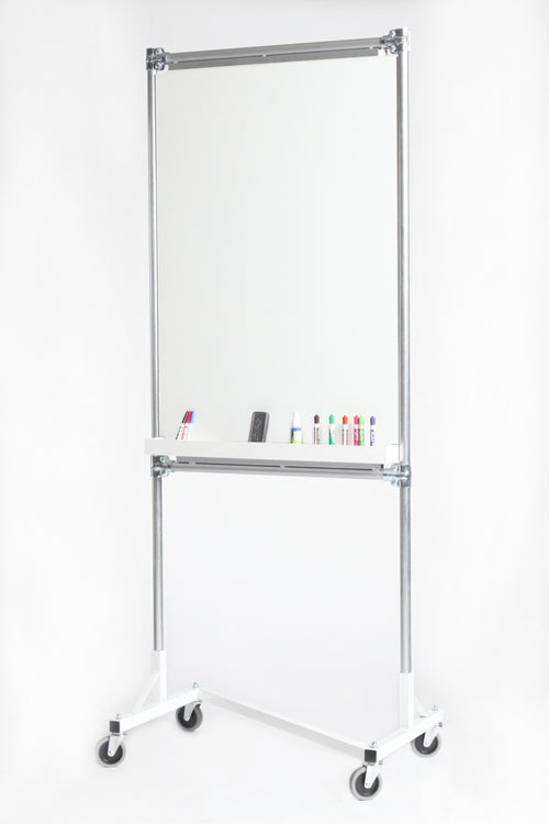 Quality Fabricators¨ Whiteboard Rack 3 Ft Base With 6 Ft Uprights, Two Whiteboard Rails And Whiteboard