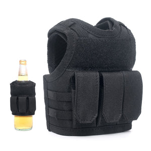 Bassdash Mini Tactical Vest Bottle Beer Vest Black with Pockets, Beverage Holder for Cans and Bottles