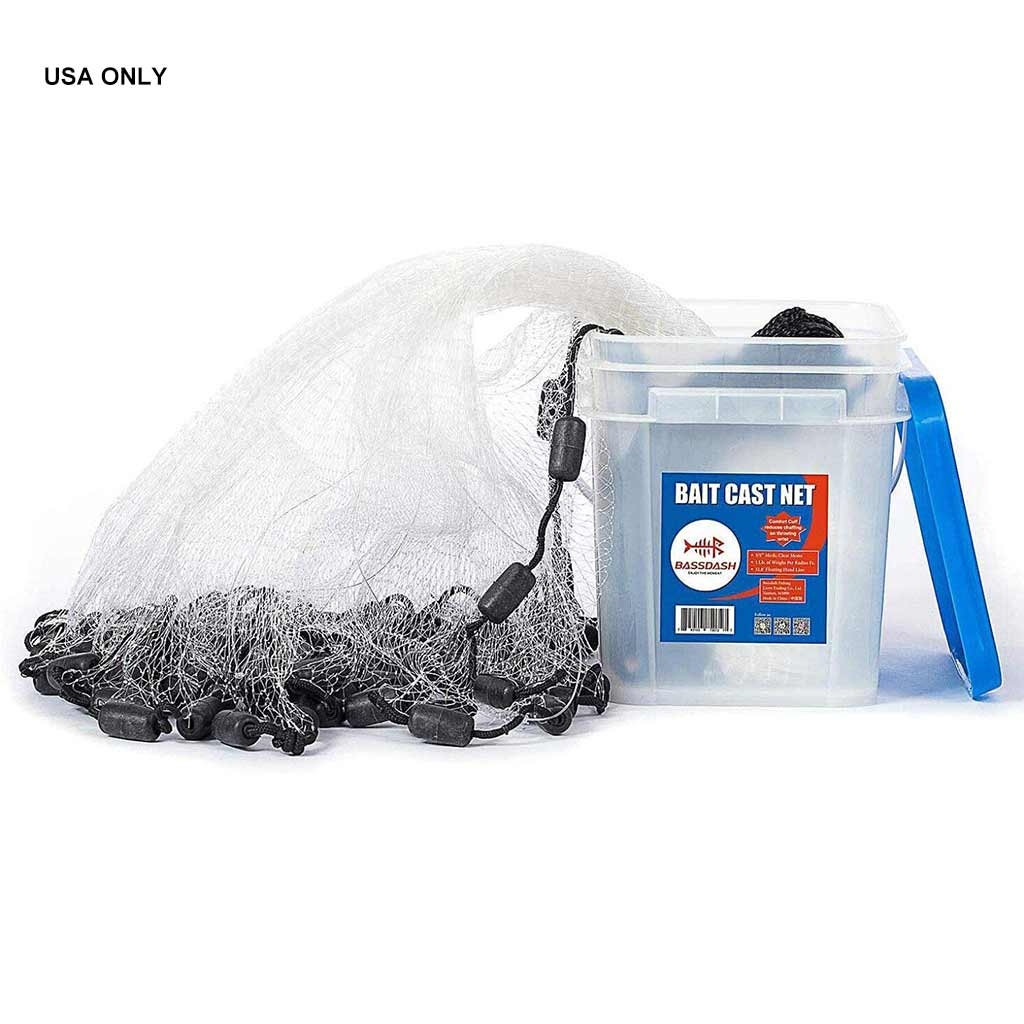 Bassdash Fishing Cast Net 3/8-Inch For Bait Trap With Utility Bucket