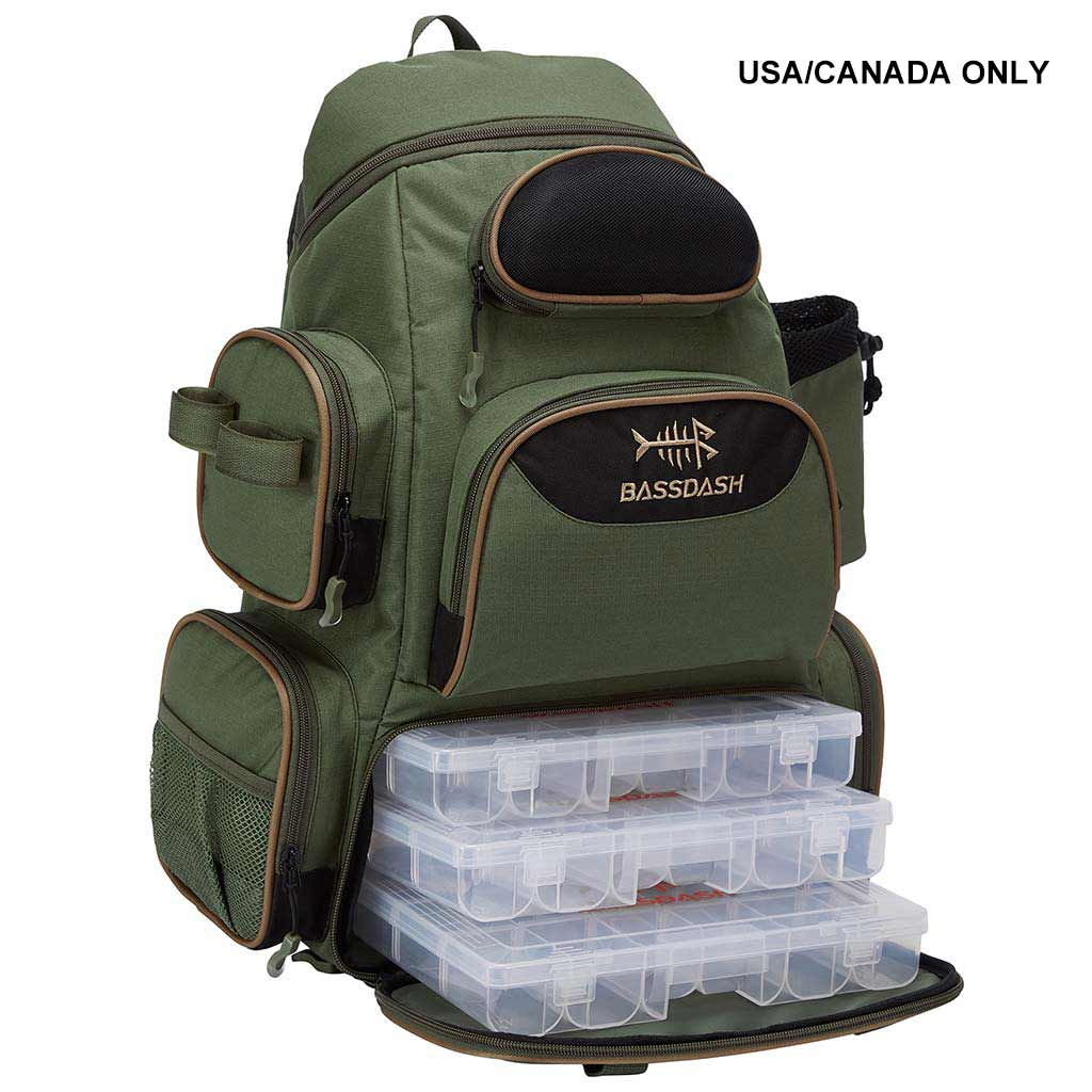 Bassdash Water Resistant Fishing Tackle Backpack [3600] With 3 Trays For Hiking Camping