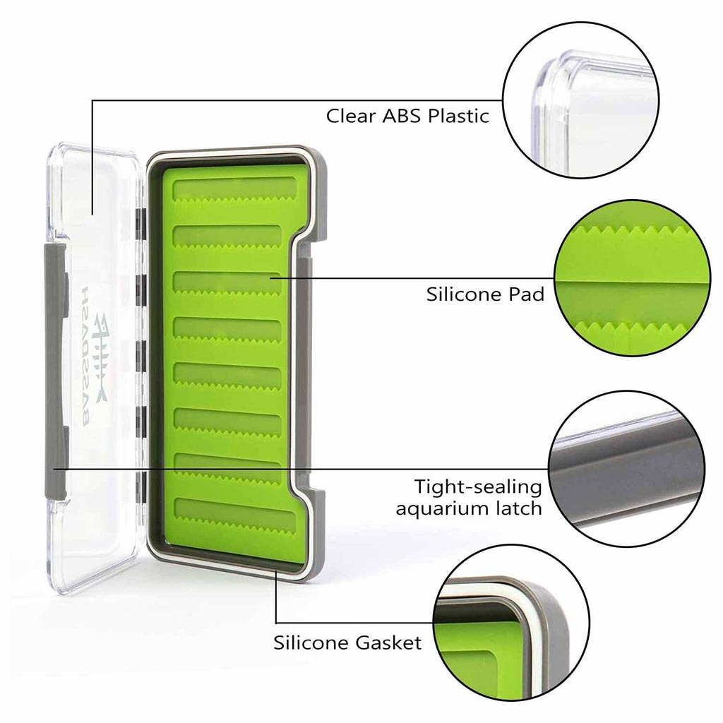 Bassdash Waterproof Single Sided Fly Box with Silicone Slits Insert