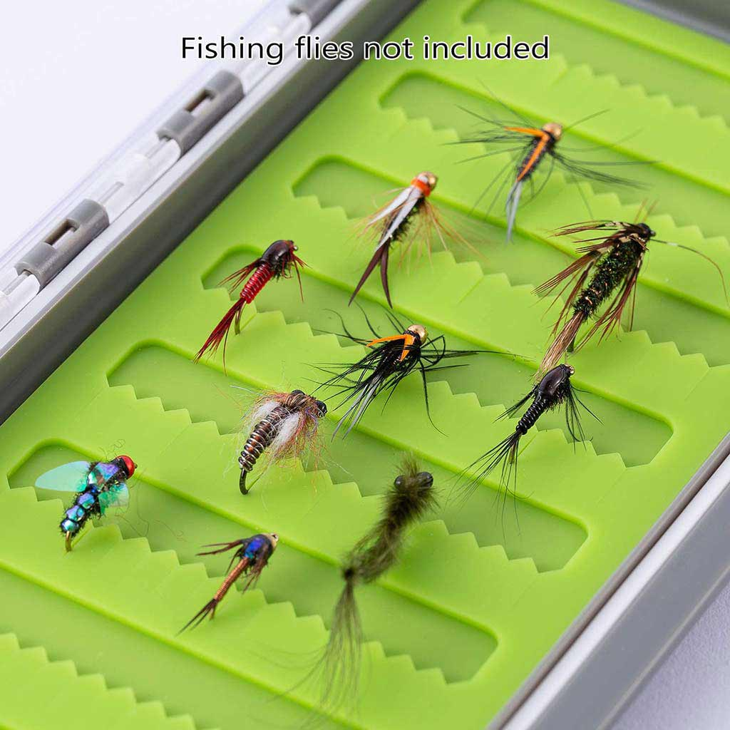 Bassdash Waterproof Fly Box Single Sided Fishing Flies Storage With Silicone Slits Insert