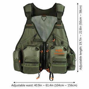 Bassdash Fly Fishing Vest Multi-Pocket Waistcoat with Water Bottle Holder, Adjustable Size
