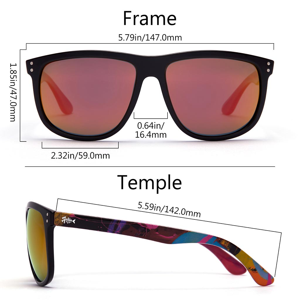 Frame - Gloss Black & Abstract Red Violet, Lens - Purple Mirror