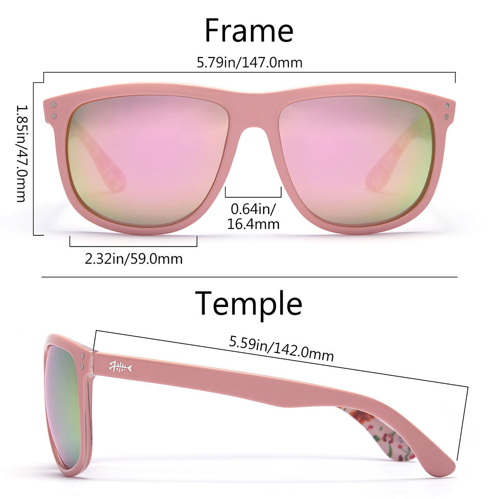 Frame - Gloss Pink & Floral, Lens - Champagne Mirror