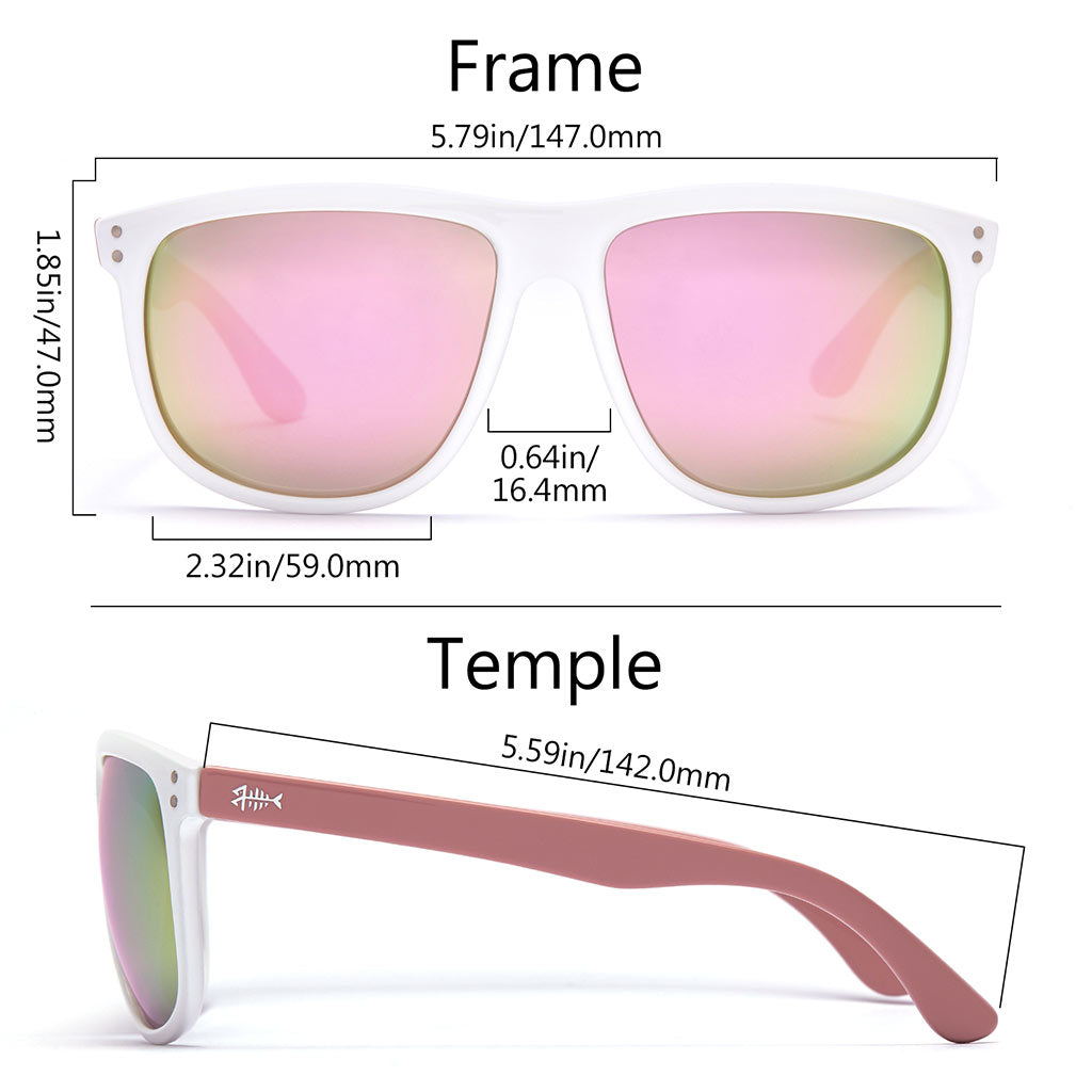 Frame - Gloss White & Pink, Lens - Champagne Mirror