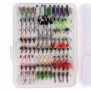 Bassdash 96 Pcs Fly Fishing Lure Assorted Nymphs Kit with Fly Box