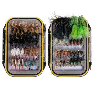 Bassdash 64 Pcs Fly Fishing Lure Flies Kit with Waterproof Fly Box
