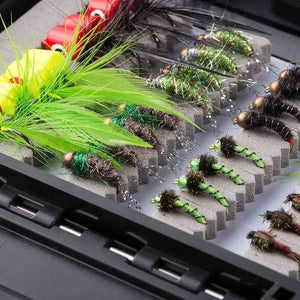 Bassdash 80 Pcs Assorted Flies Fly Fishing with Waterproof Fly Box