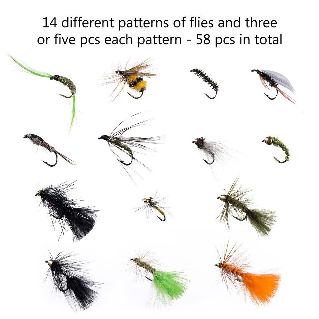 Bassdash 58 Pcs Flies Lure for Trout Steelhead Salmon Fly Fishing